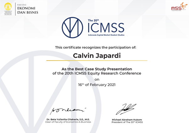 Best Case Study Presentation at the 20th ICMSS Equity Research Conference