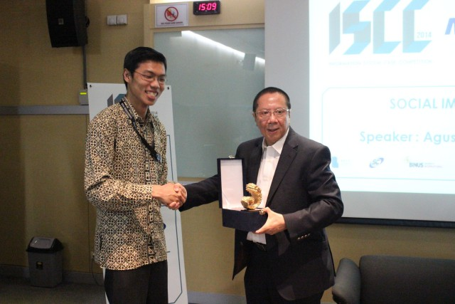 "We would like to extend our gratitude to  Mr. Agus Mulyanto, PhD. [right] ~ Director of PT MNC Investama Tbk. Upon his public lecturer: ""The role of Media Company to the development of Indonesia"" at ISCC 2014."