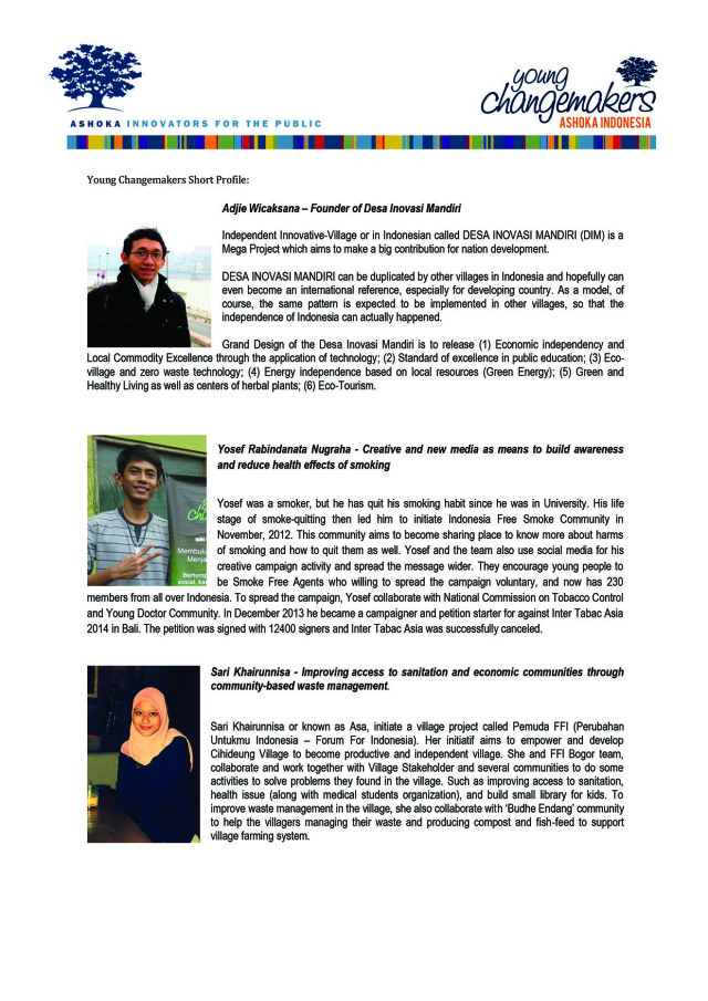 Young Change Makers Speakers - Tuesday 30th october 2014
