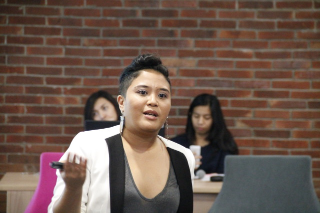 Kartika Jahja, Anti- Violence Against Woman and gender equality activist, at Tech Media Talk on Tuseday (3/29). Kartika adds that violence against women is not always physical, as insults or verbal abuse towards women are also considered as violence