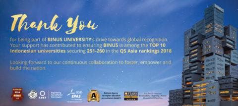 BINUS UNIVERSITY Propels Up the QS World University Rankings: Asia